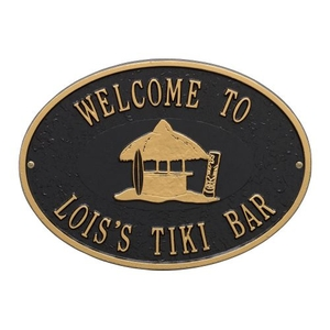 Personalized Tiki Hut Plaque, Black / Gold