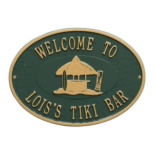 Personalized Tiki Hut Plaque, Green / Gold