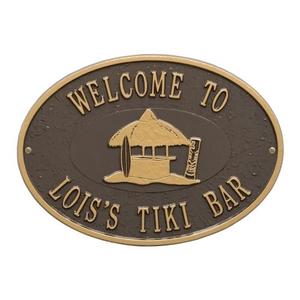 Personalized Tiki Hut Plaque, Bronze / Gold