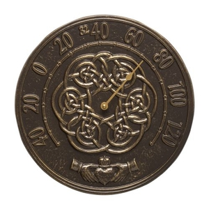 """Irish Blessings 12"""" Indoor Outdoor Wall Thermometer, French Bronze"""
