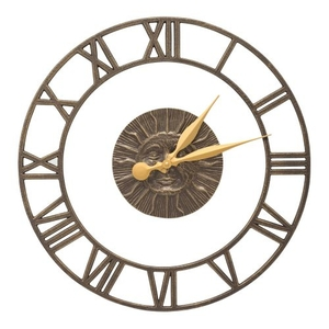 """Sunface Floating Ring 21"""" Indoor Outdoor Wall Clock , French Bronze"""