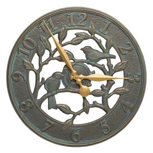 """Woodridge 16"""" Indoor Outdoor Wall Bird Clock , Bronze Verdigris"""