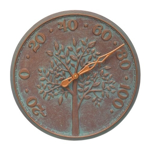 """Tree Of Life 16"""" Indoor Outdoor Wall Thermometer, Copper Verdigris"""