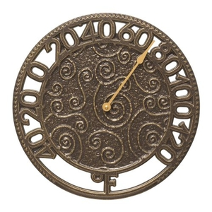 """Flourish 14"""" Indoor Outdoor Wall Thermometer, French Bronze"""