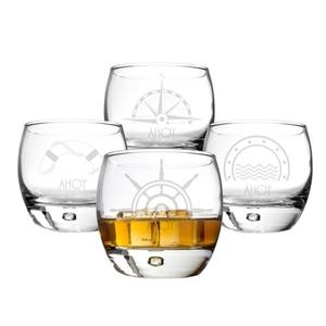 Personalized 10.75 Oz. Nautical Heavy Based Whiskey Glasses