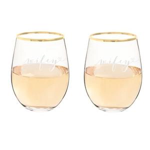 Wifey & Wifey 19.25 Oz. Gold Rim Stemless Wine Glasses
