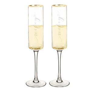 Wifey & Wifey 8 Oz. Gold Rim Contemporary Champagne Flutes