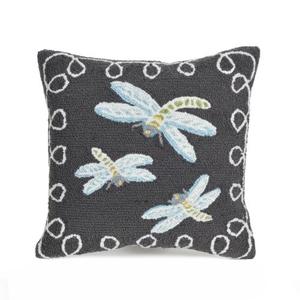 "Liora Manne Frontporch Dragonfly Indoor/Outdoor Pillow Midnight 18"" Square"