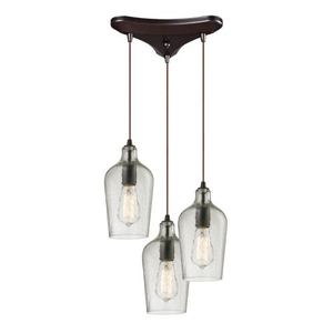 Hammered Glass 3 Light Pendant In Oil Rubbed Bronze And Clear Glass