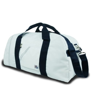 Newport Large Square Duffel - White And Blue