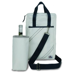 Newport Insulated 2-Bottle Wine Tote - White And Blue