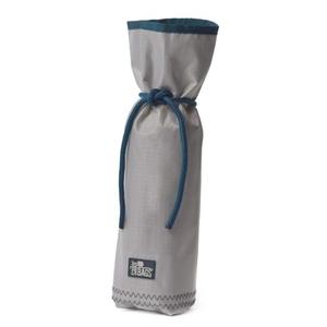 Sailcloth Silver Spinnaker Bottle Bag, Silver with Blue Trim