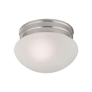 1 Light Mushroom Flushmount In Brushed Nickel