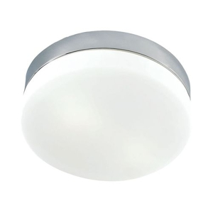 1 Light Flush Mount In Satin Nickel And White Glass