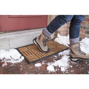 Criss Cross Recycled Rubber & Coir Doormat