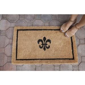 Black Fleur De Lis Extra - Thick Hand Woven Coir Doormat