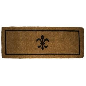 Black Fleur Di Lys 18X47 Extra - Thick Hand Woven Coir Doormat