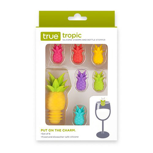 Pineapple Silicone Wine Glass Charms and Bottle Stopper