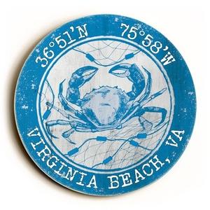 Custom Coordinates Round Crab Sign - Blue
