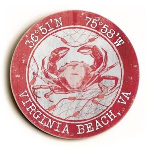 Custom Coordinates Round Crab Sign - Coral