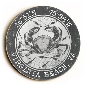 Custom Coordinates Round Crab Sign - Gray