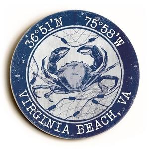 Custom Coordinates Round Crab Sign - Navy