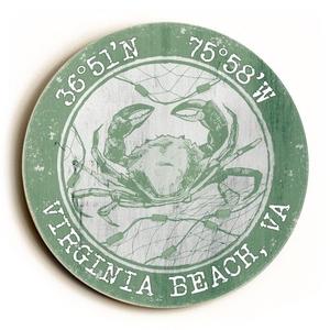 Custom Coordinates Round Crab Sign - Nile Green