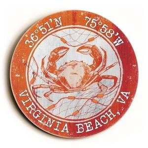 Custom Coordinates Round Crab Sign - Orange