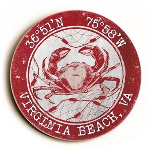 Custom Coordinates Round Crab Sign - Red