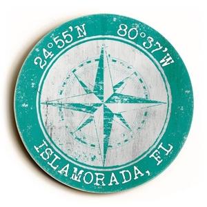 Custom Coordinates Round Sign - Aqua