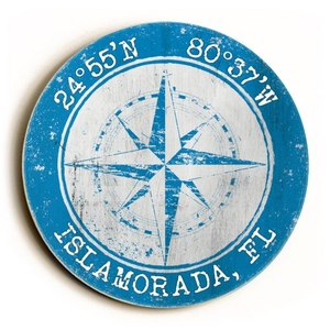 Custom Coordinates Round Sign - Blue