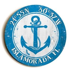 Custom Coordinates Round Anchor Sign - Blue