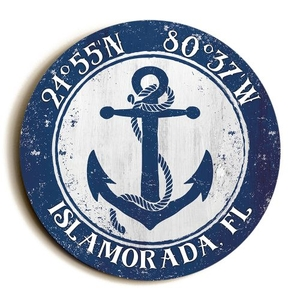Custom Coordinates Round Anchor Sign - Navy