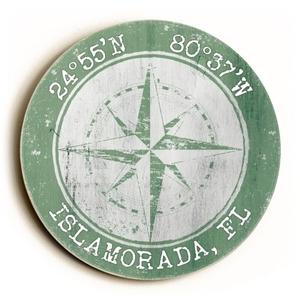 Custom Coordinates Round Sign - Nile Green