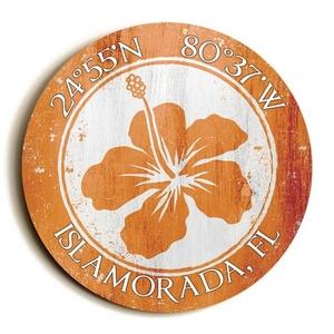 Custom Coordinates Round Hibiscus Sign - Orange