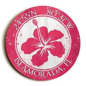 Custom Coordinates Round Hibiscus Sign - Pink