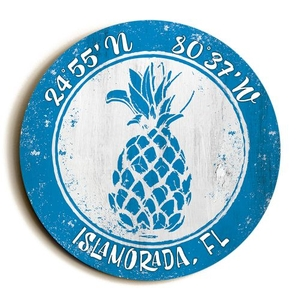 Custom Coordinates Round Pineapple Sign - Blue