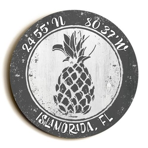 Custom Coordinates Round Pineapple Sign - Gray