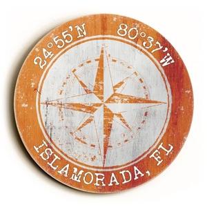 Custom Coordinates Round Sign - Orange
