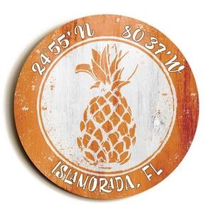 Custom Coordinates Round Pineapple Sign - Orange