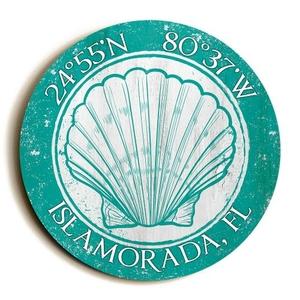 Custom Coordinates Round Seashell Sign - Aqua