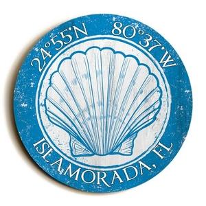 Custom Coordinates Round Seashell Sign - Blue