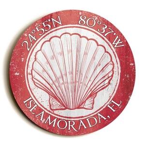 Custom Coordinates Round Seashell Sign - Coral