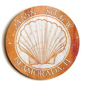 Custom Coordinates Round Seashell Sign - Orange