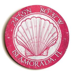 Custom Coordinates Round Seashell Sign - Pink