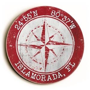Custom Coordinates Round Sign - Red
