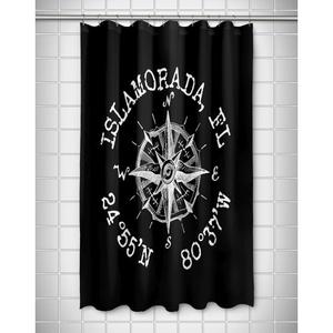 Custom Compass Rose Coordinates Shower Curtain - Black