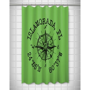 Custom Compass Rose Coordinates Shower Curtain - Light Green