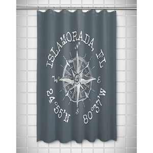 Custom Compass Rose Coordinates Shower Curtain - Gray
