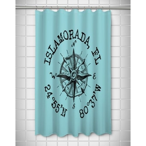 Custom Compass Rose Coordinates Shower Curtain - Light Blue
